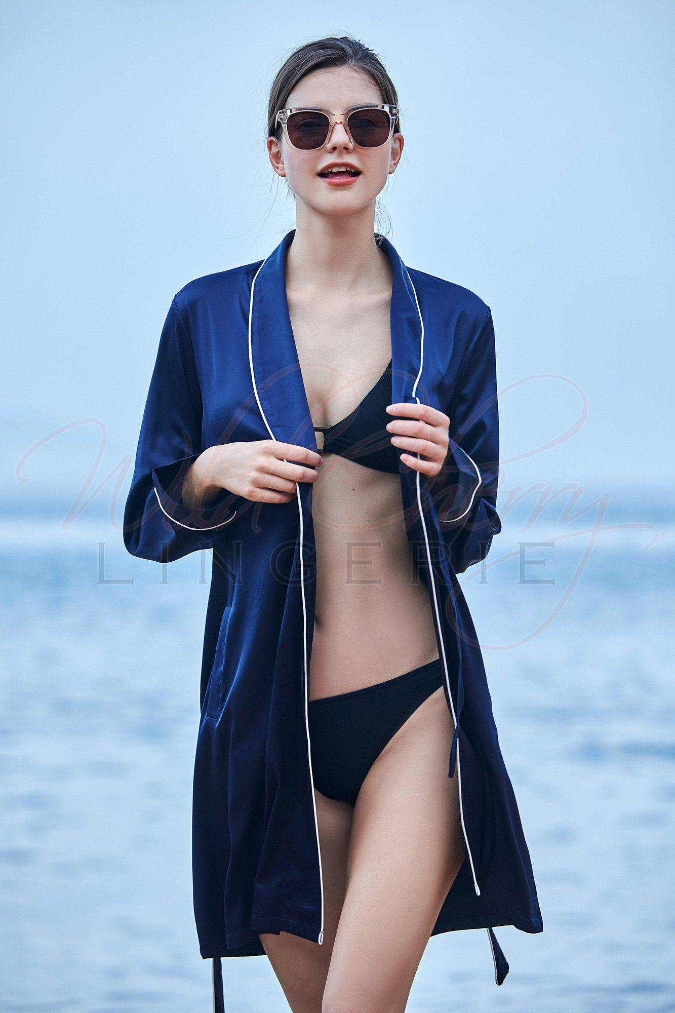 Deep Blue Belted Robe