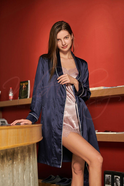 Deep Blue Satin Belted Robe