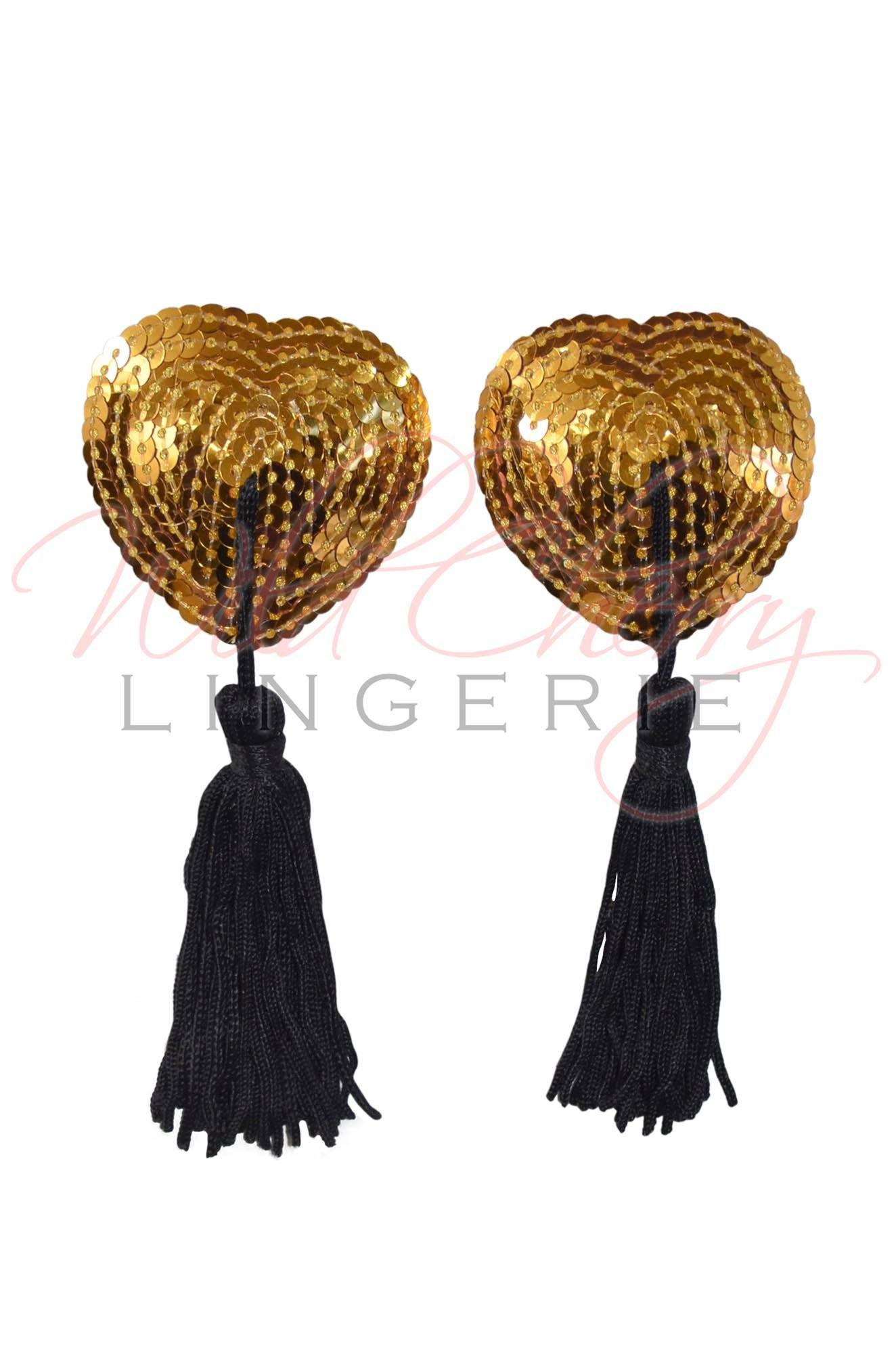 Sequin Heart Pasties with Tassels