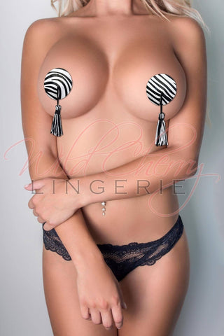 Black and White Tassels Nipple Covers