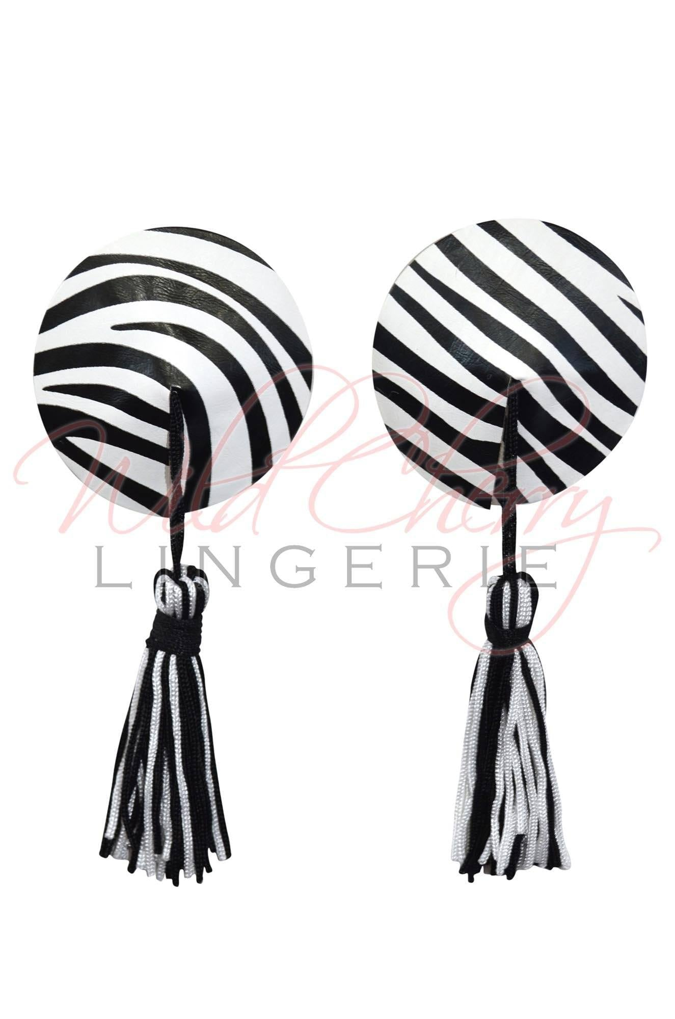 Zebra Nipple Covers with Tassels, Accessories, Wild Cherry Lingerie - Wild Cherry Lingerie