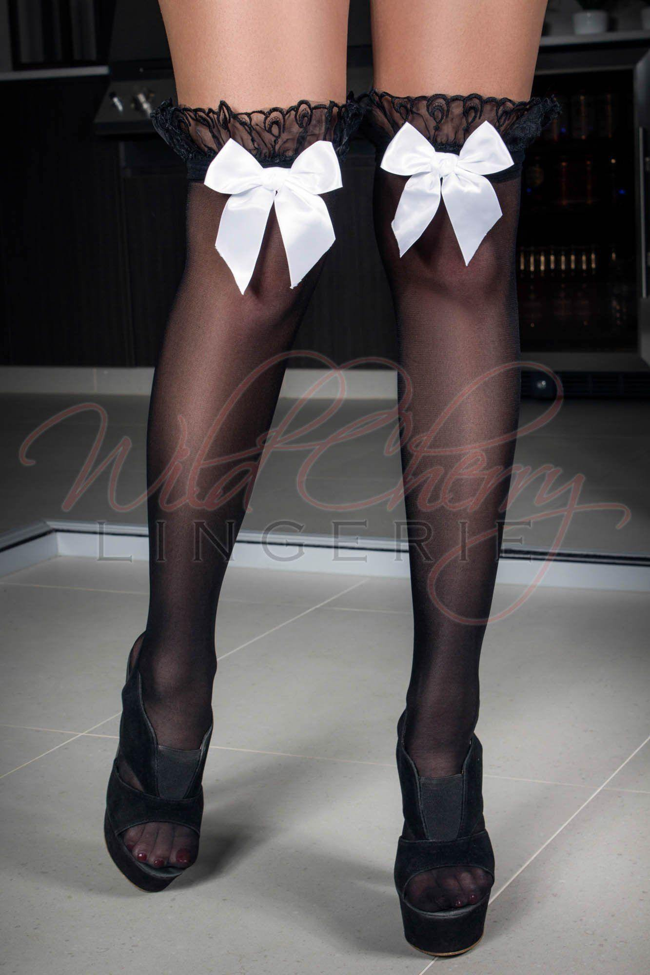 Black and White Bow Stockings, Legwear, Unbranded - Wild Cherry Lingerie