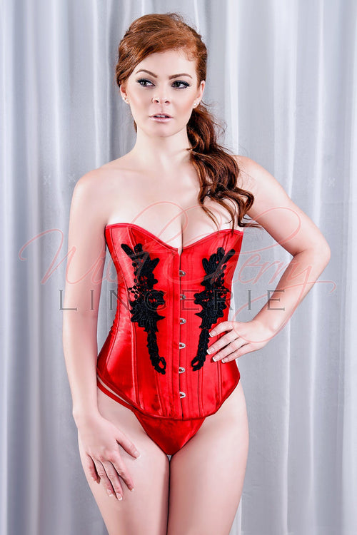 Satin Corset with Black Roses, Corsets & Bustiers, Wild Cherry Lingerie - Wild Cherry Lingerie