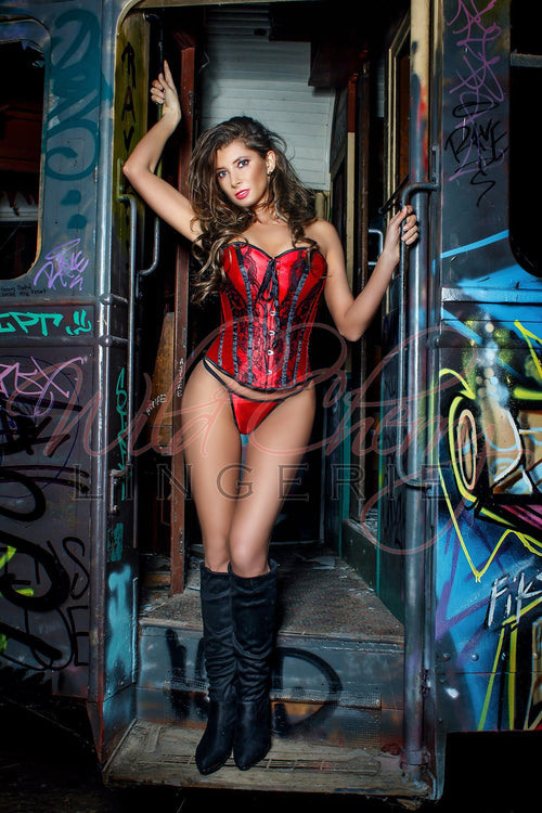 Satin and Lace Corset, Corsets & Bustiers, Wild Cherry Lingerie - Wild Cherry Lingerie