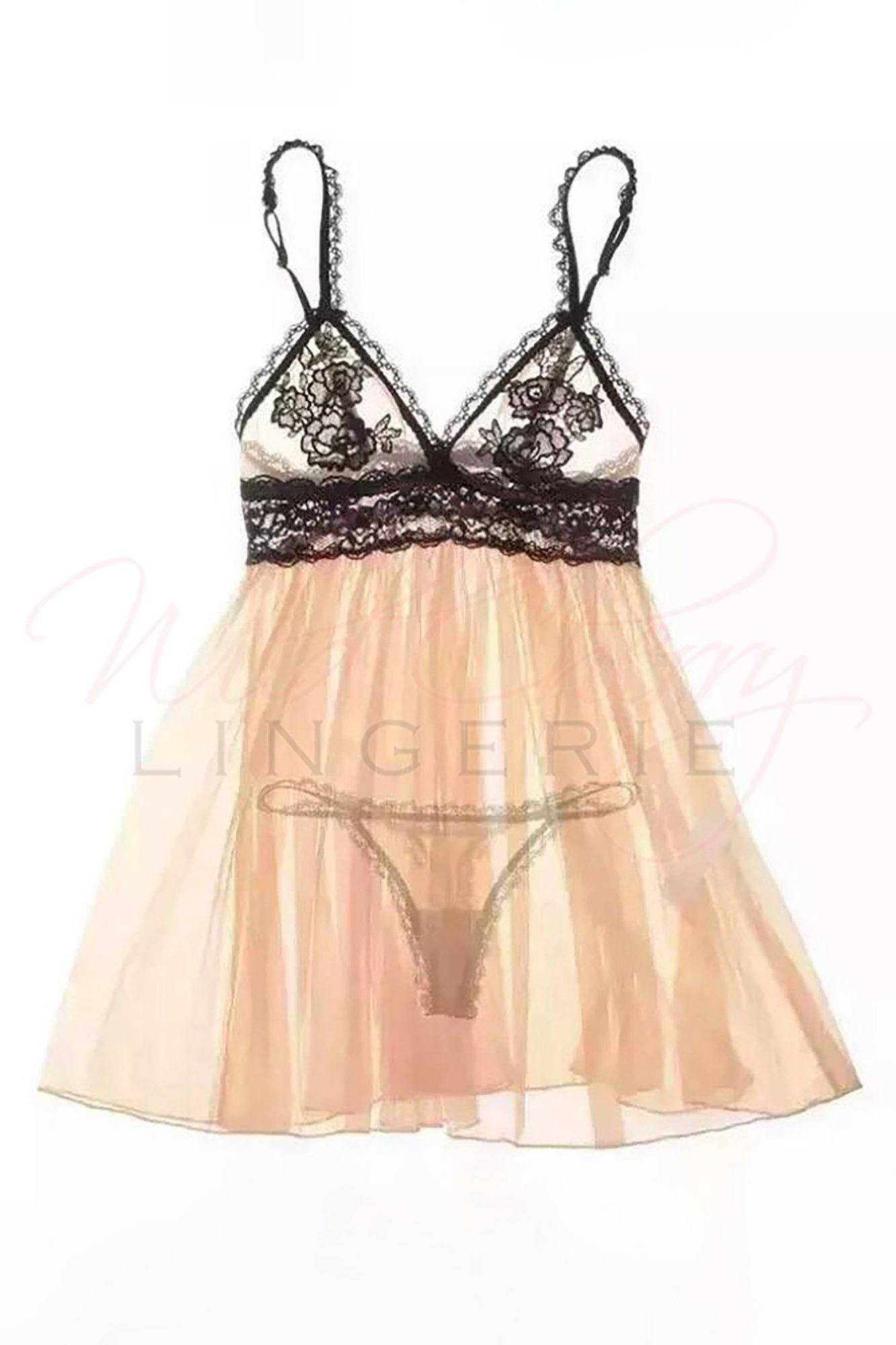 Sheer Beige & Black Babydoll Set