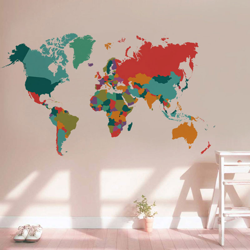 Colorful world map wall decal my fun walls colorful world map wall decal gumiabroncs Gallery