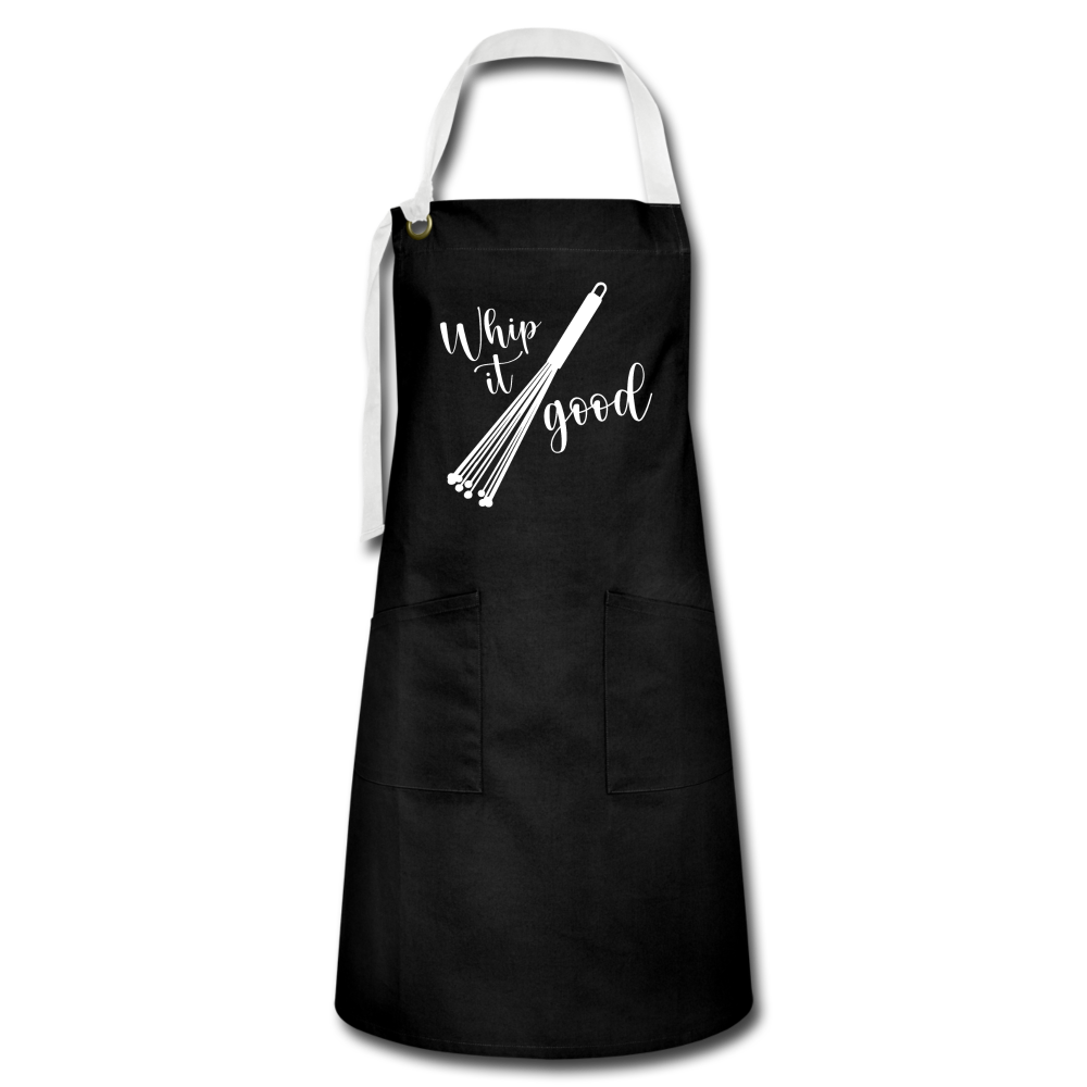 """WHIP IT GOOD v2"" Premium 2 Pocket Apron Featuring VansieHome Wand Whisk - black/white"