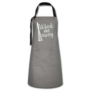 """WHSK ME AWAY!"" Premium 2-Pocket Artisan Apron - gray/black"