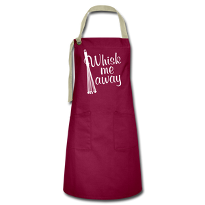 "Open image in slideshow, ""WHSK ME AWAY!"" Premium 2-Pocket Artisan Apron - burgundy/khaki"