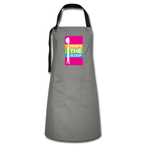 "Open image in slideshow, ""WHATS THE SCOOP"" Artisan Apron - gray/black"