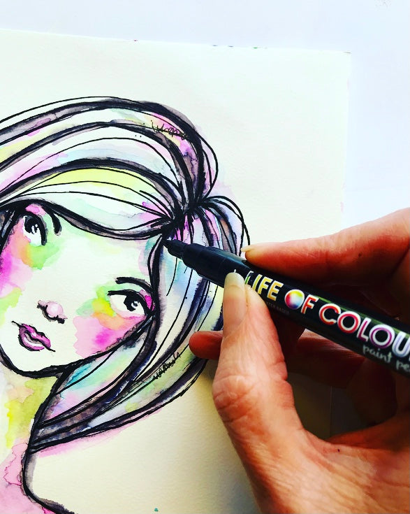 Draw a colourful whimsical girl for your art journal