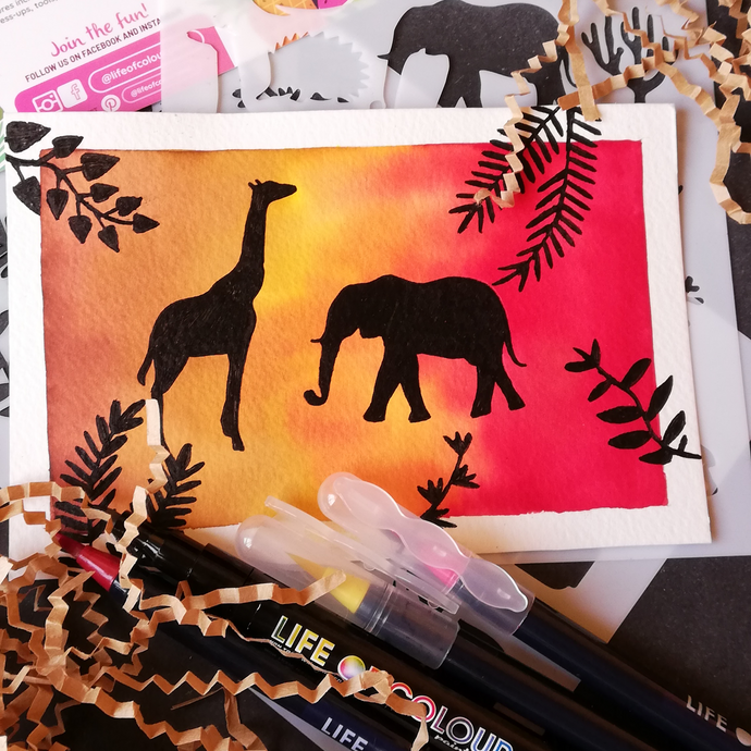 Use stencils to make a safari greeting card