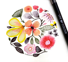 How to create a fun and colourful floral illustration with watercolour brush pens