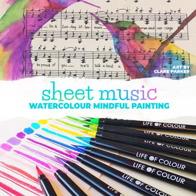 Relaxing and mindful watercolour art on sheet music
