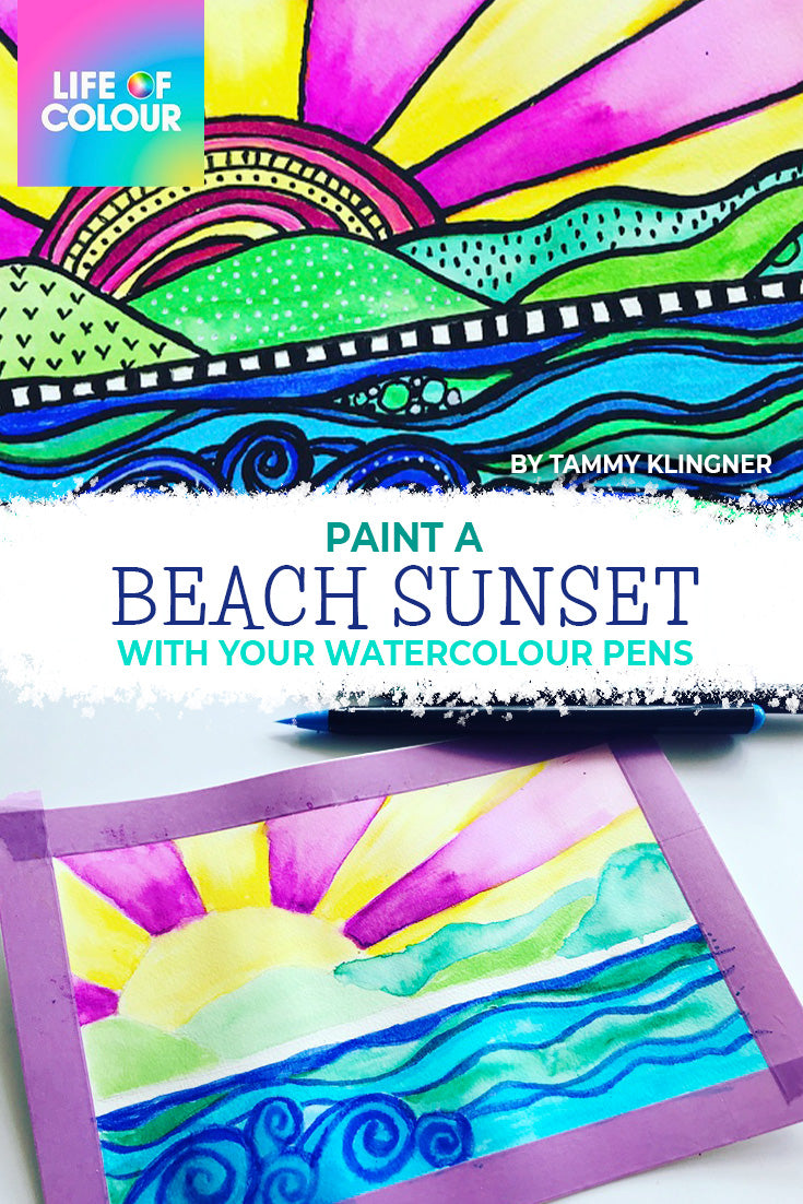 Learn to paint a sunset at the beach with your watercolours