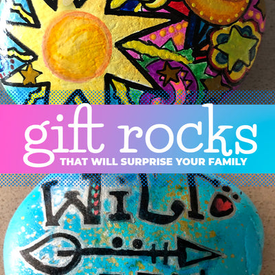 Colourful gift rock with your paint pens and watercolours