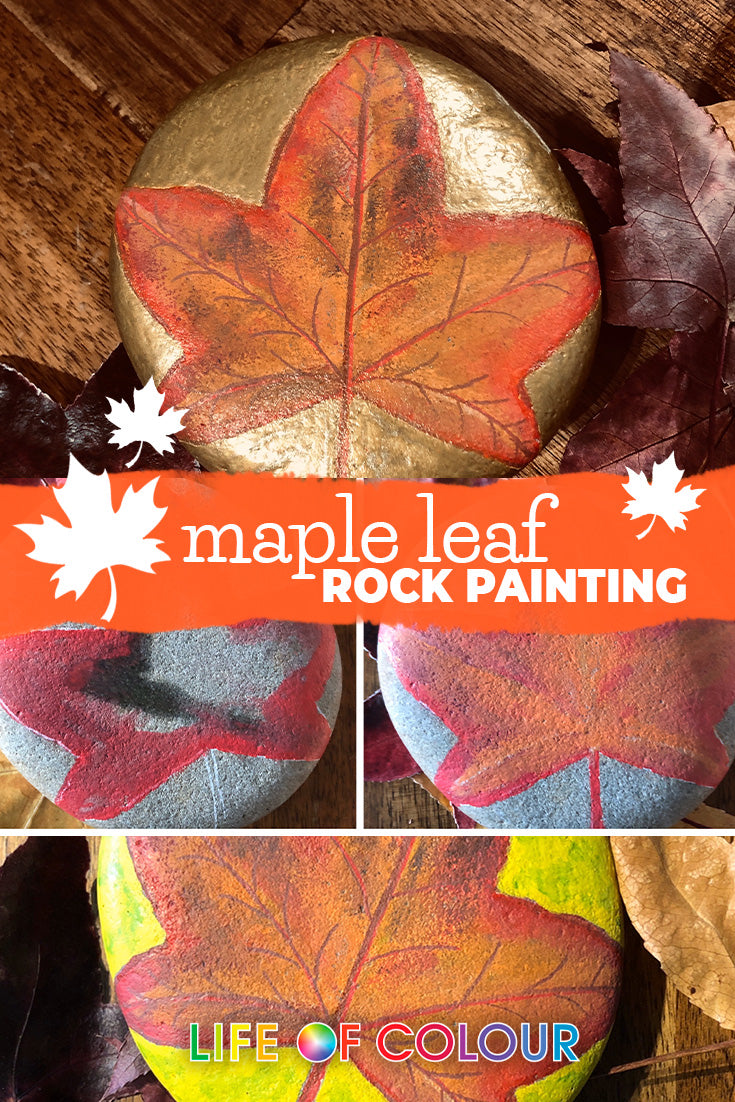 Autumn Maple leaf rock painting step by step