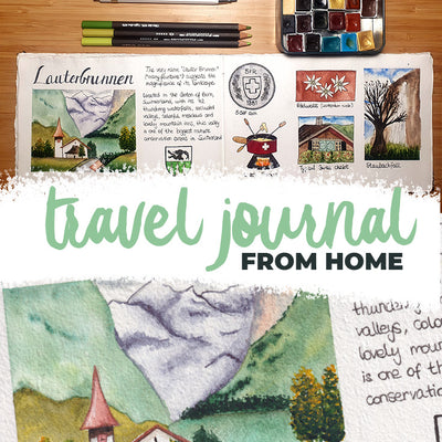 Travel sketching and journaling from home