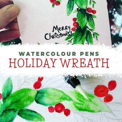 Quick and Easy Watercolour Christmas Wreath Card