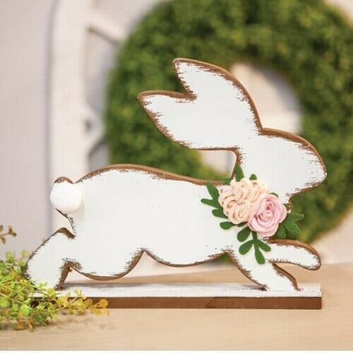 Distressed jumping Easter Bunny with flowers wooden figure