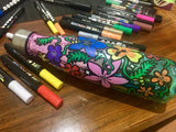 paint on water bottle with life of colour pens
