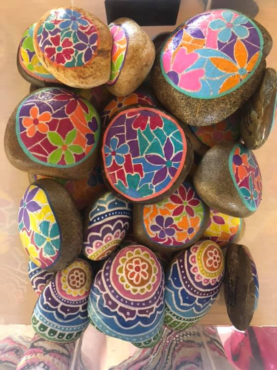 Flowers and easter rock designs