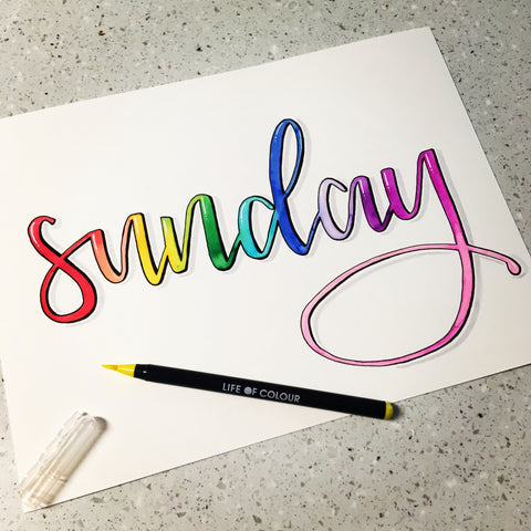 Brush Lettering with Life of Colour Brush Pens