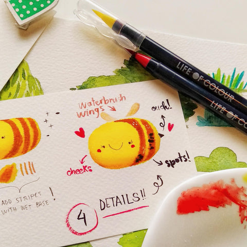 how to make a cute fuzzy bee using life of colour pens