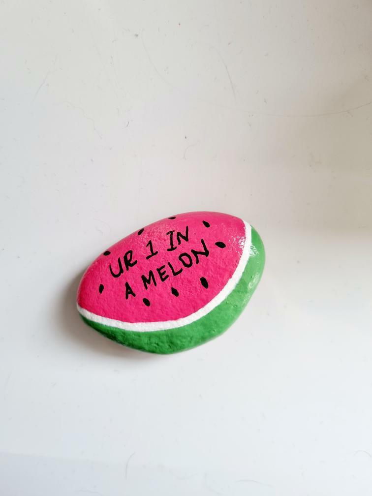 """""""One in a melon"""" Valentine's day pun rock"""