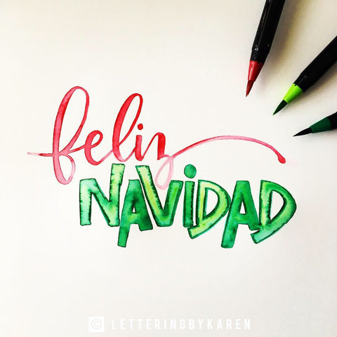 feliz navidad brush lettering with life of colour pens