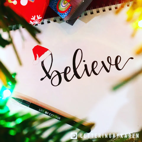 believe brush lettering with life of colour pens