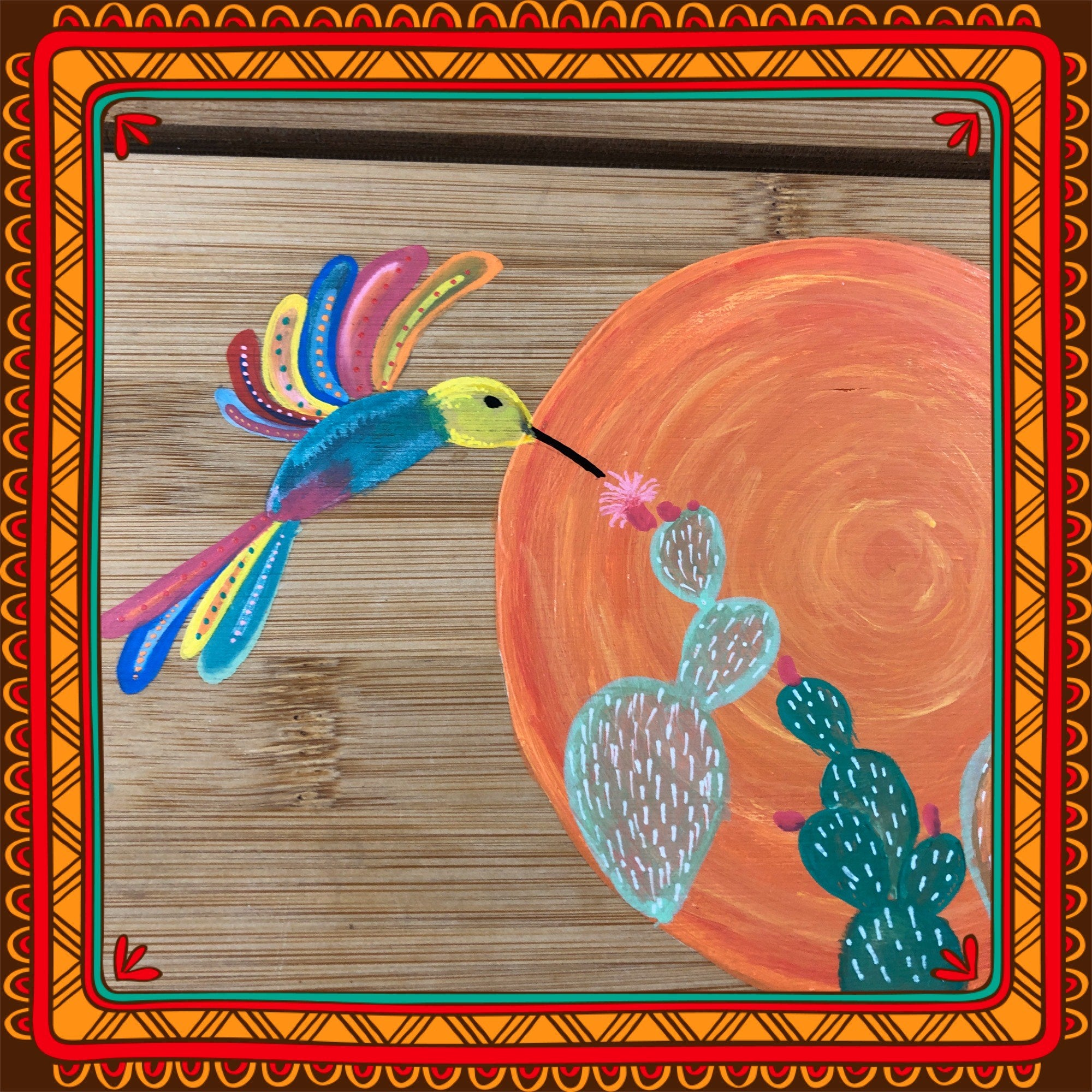 Hummingbird Mexican Folkart inspired painting