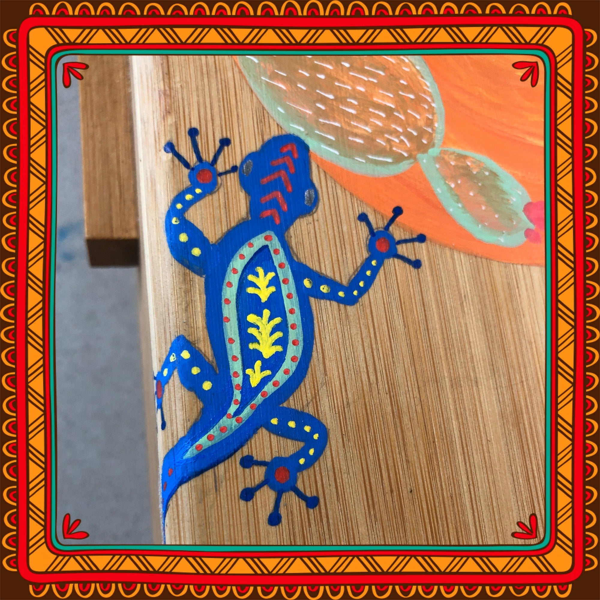 How to paint a mexican folk art inspired Gecko