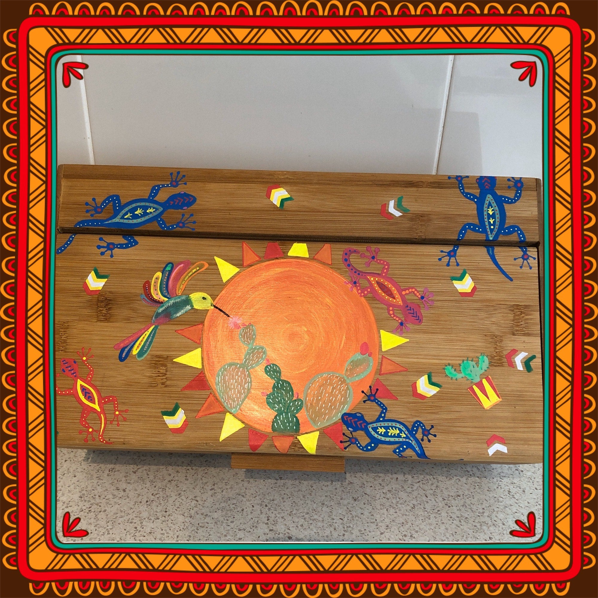Mexican Folkart inspired breadbox easy painting upcycle craft