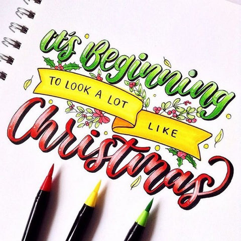 christmas art lettering by @phunky.letters with life of colour pens