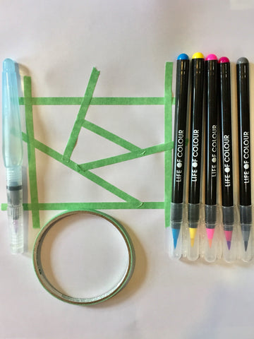 what you need to make a geometric pattern with washi tape and life of colour watercolour pens