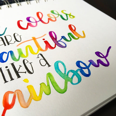 rainbow brush lettering by @letteringbykaren