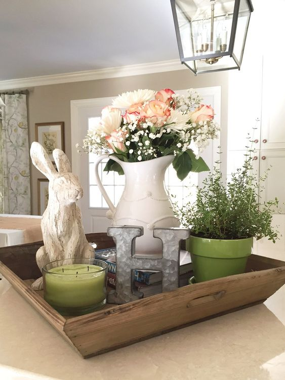 Easter rabbit farmhouse vignette by A Wonderful Thought