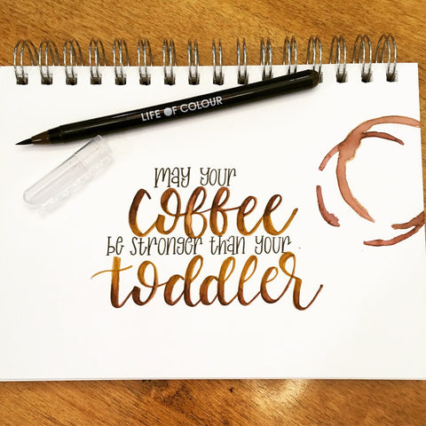coffee stains with watercolour pens