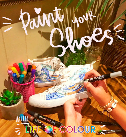 paint your shoes with life of colour pens