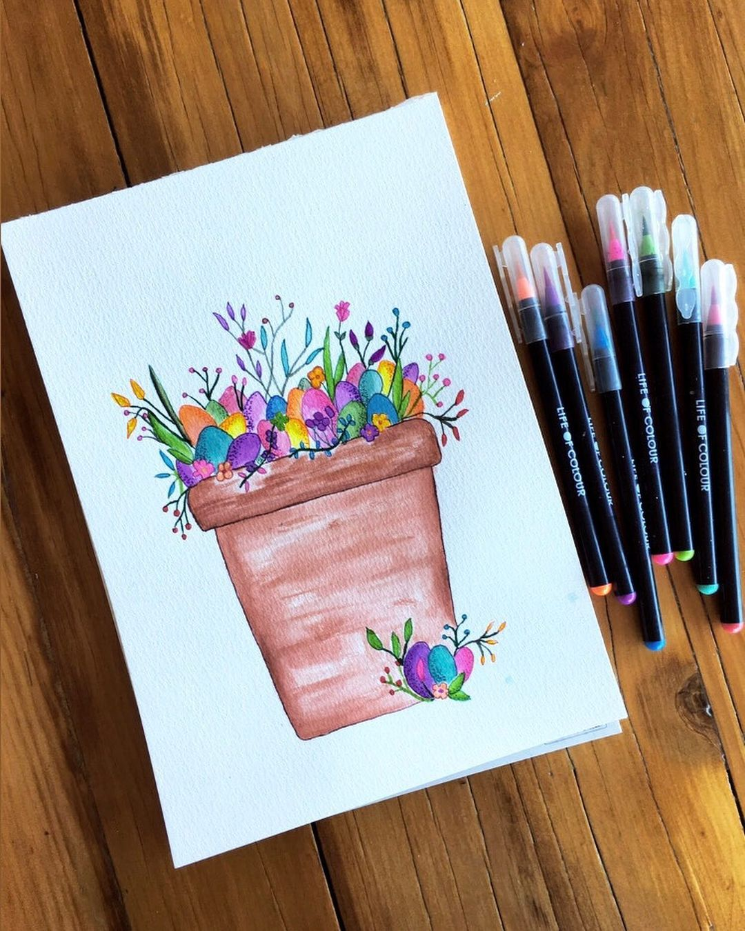 Easter themed watercolour painting