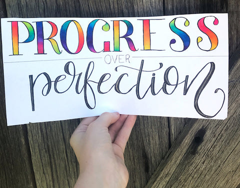 progress not perfection lettering art