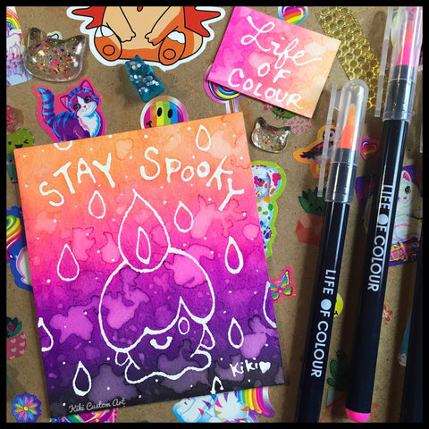 stay spooky halloween art with life of colour watercolour pens
