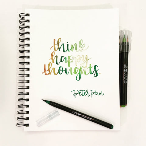 think happy thoughts brush lettering