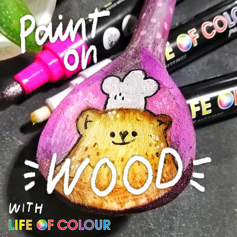 paint on any wood surface with life of colour of colour pens