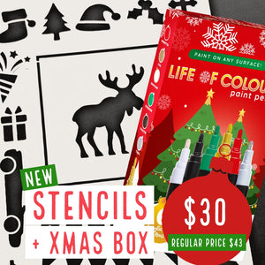Stencils and Christmas Box
