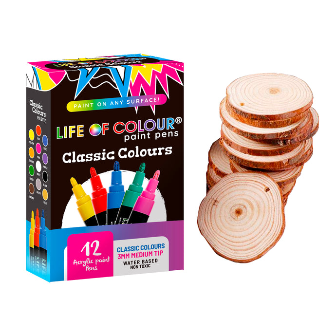 Paint Pens and Wood Slices Bundle