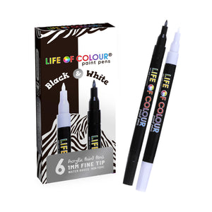 Life of Colour | Shop: Black and White Fine Tip Paint Pens | Australia and New Zealand