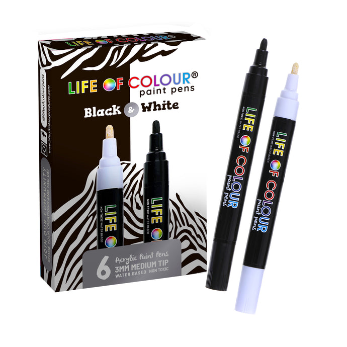 Black and White Medium Tip Paint Pens