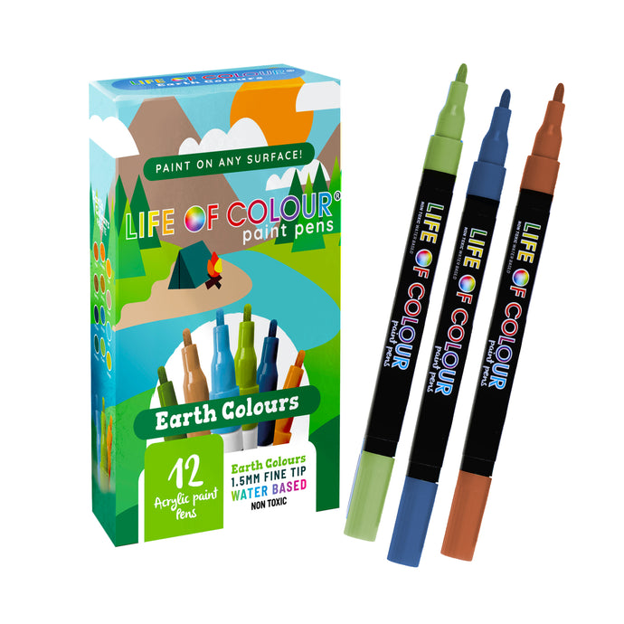 Earth Colours Paint Pens 1.5mm Fine Tip